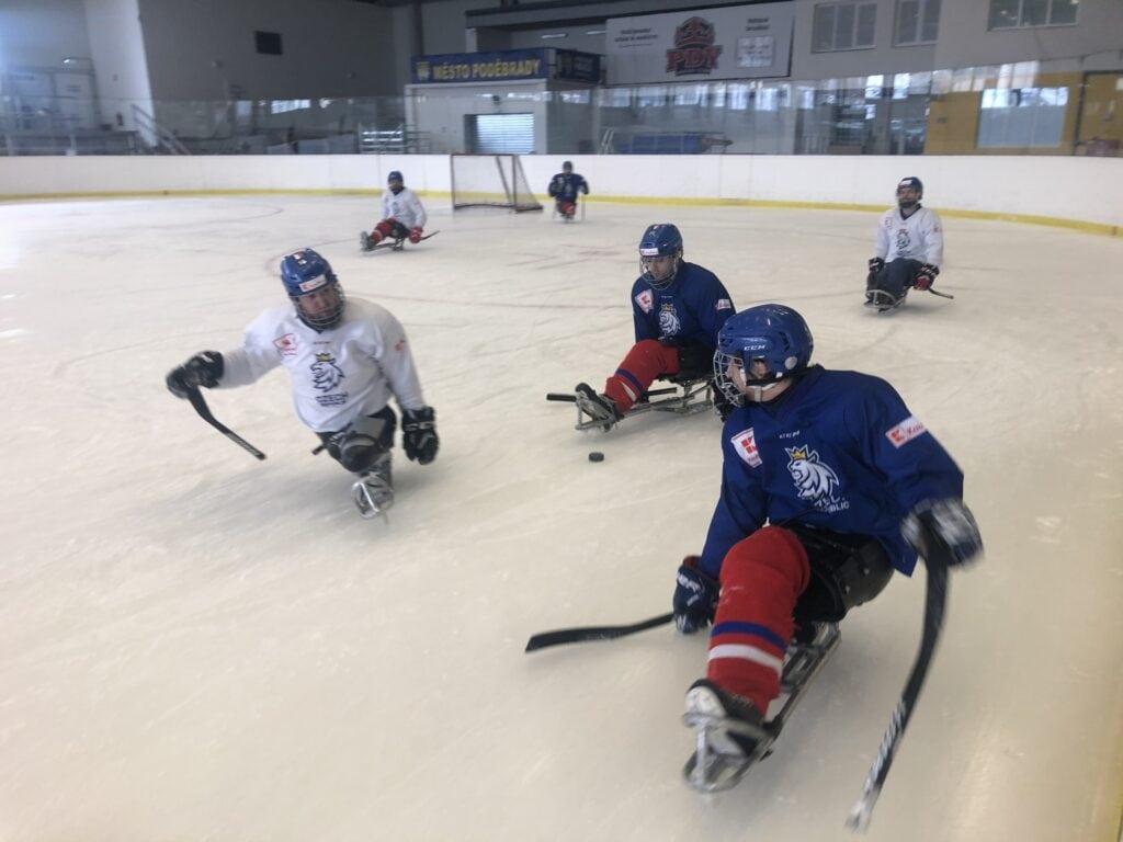 Česká para hokejová reprezentace se připravuje na ledě Poděbrad